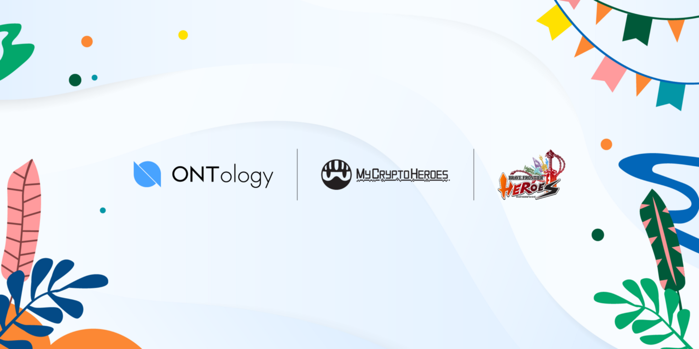 logo Ontology và My Crypto Heroes với Brave Frontier Heroes